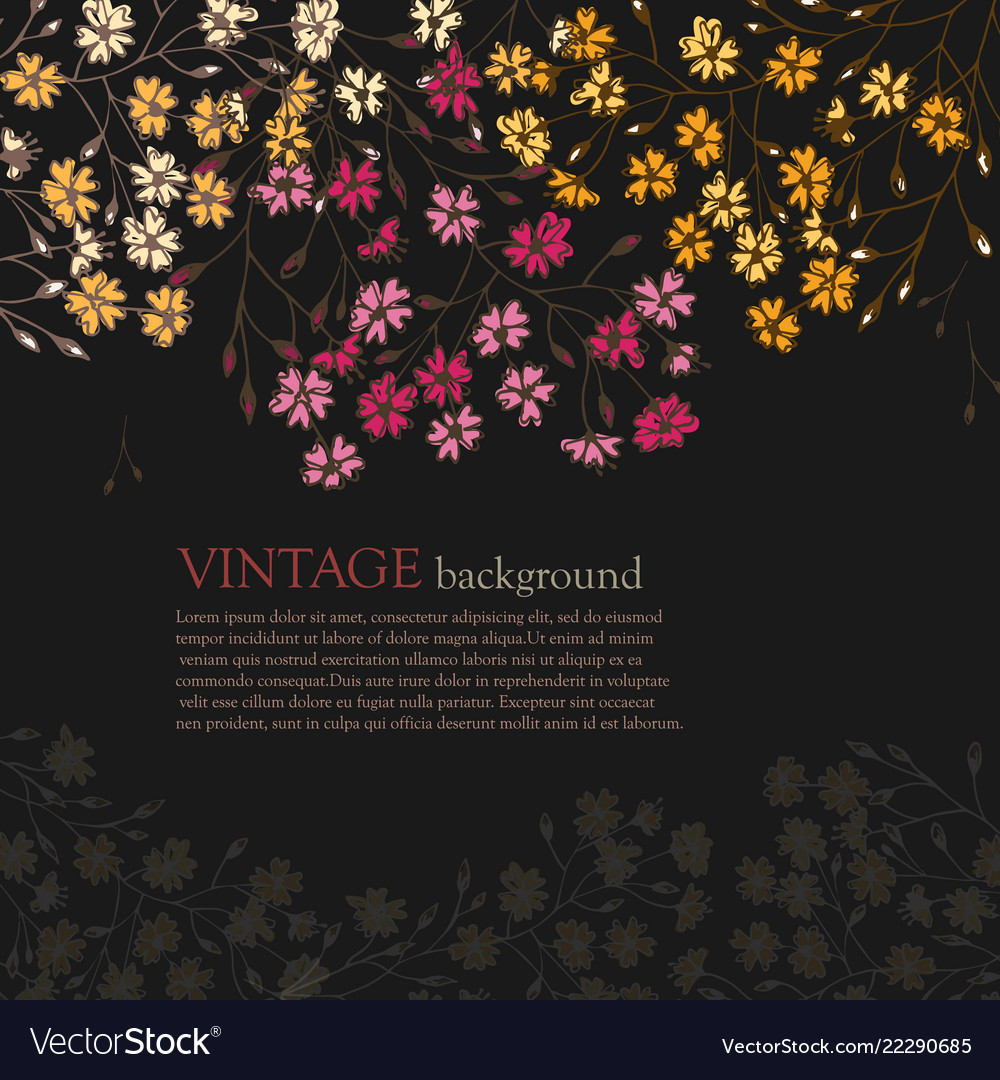 Invitation card with vintage flowers