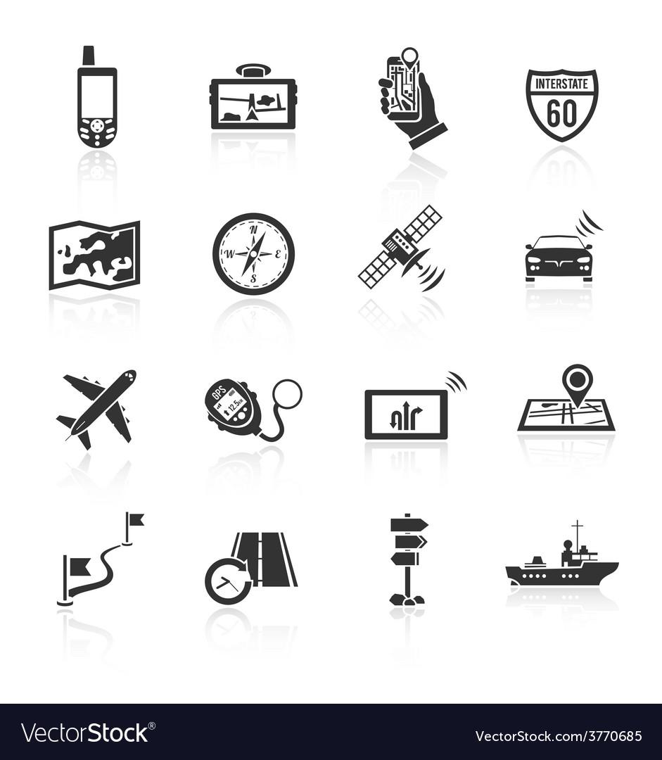Navigation icons set black vector image