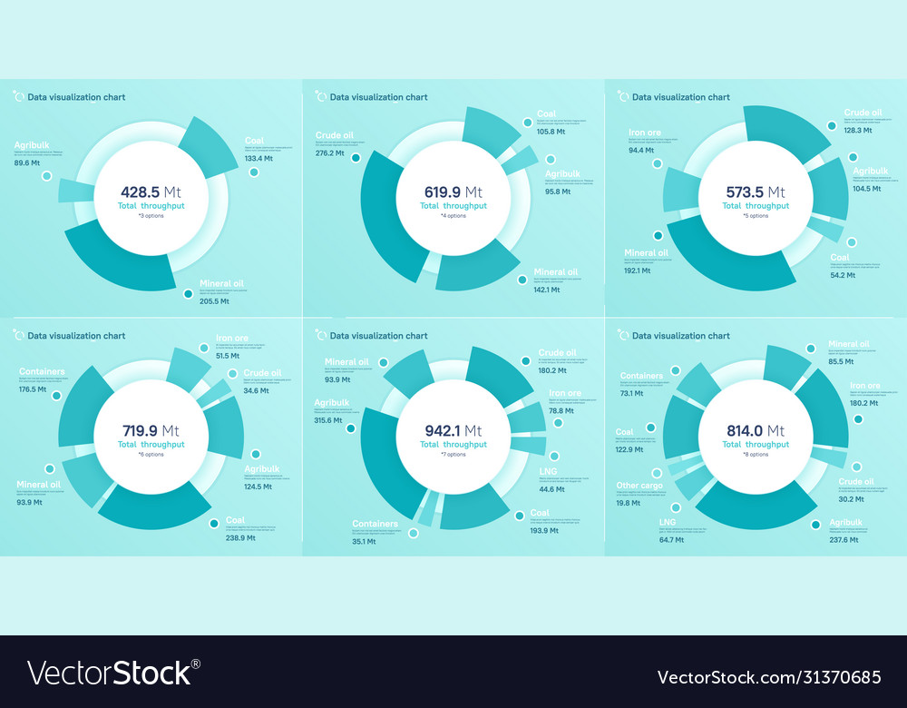 Set pie chart designs modern templates