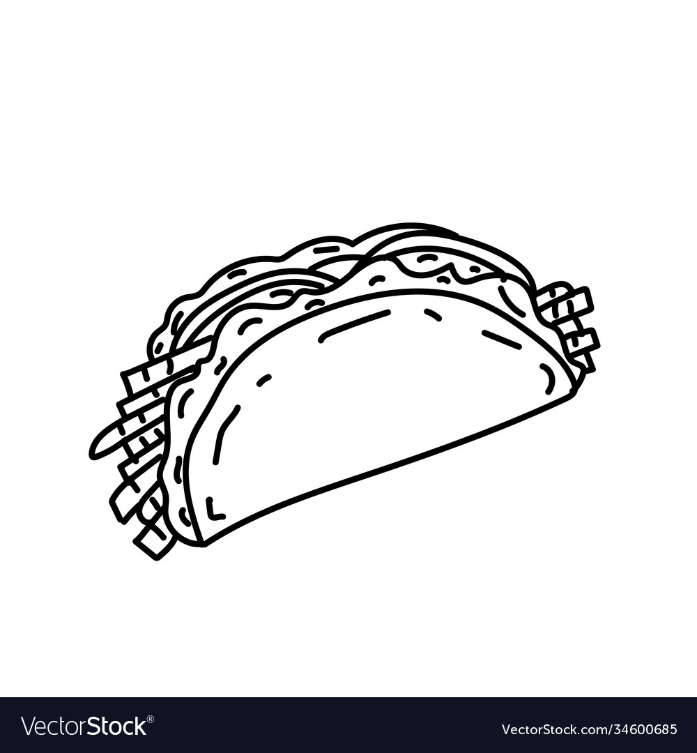 Taco icon doodle hand drawn or black outline