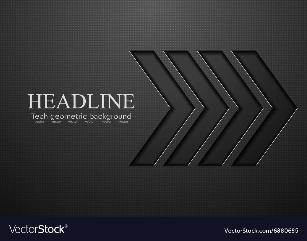 Tech black arrows background vector image