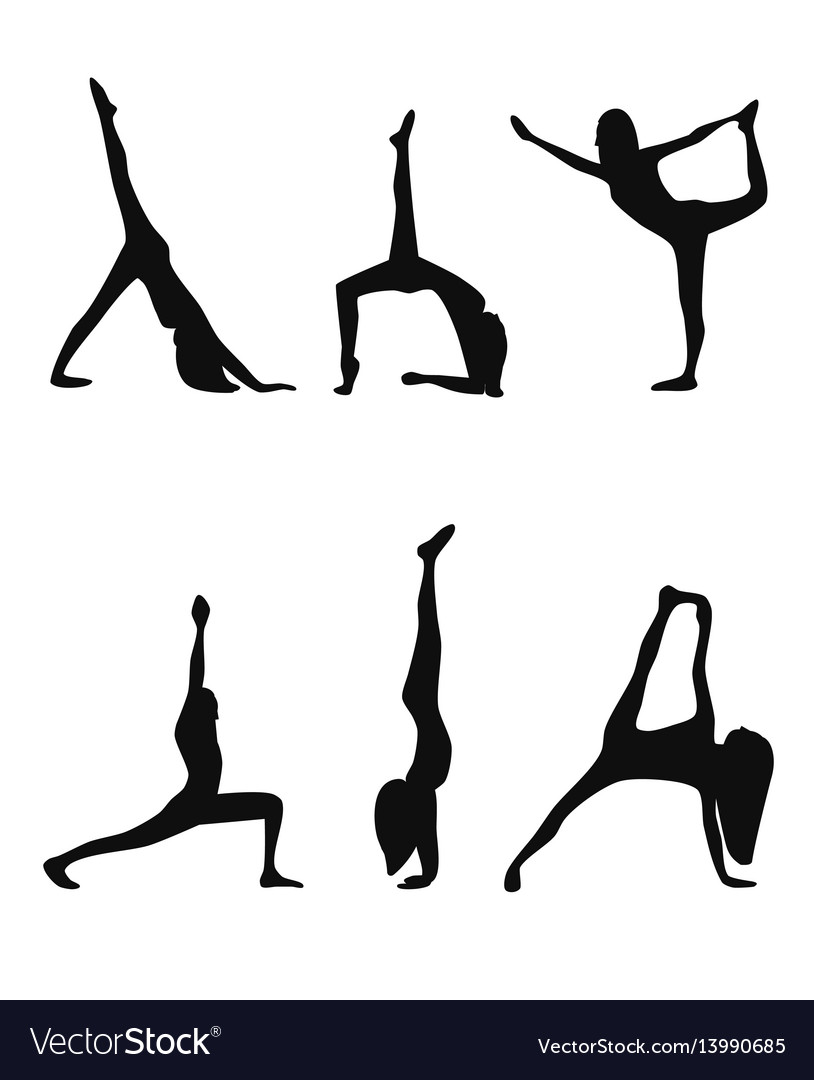 Yoga poses black silhouettes set