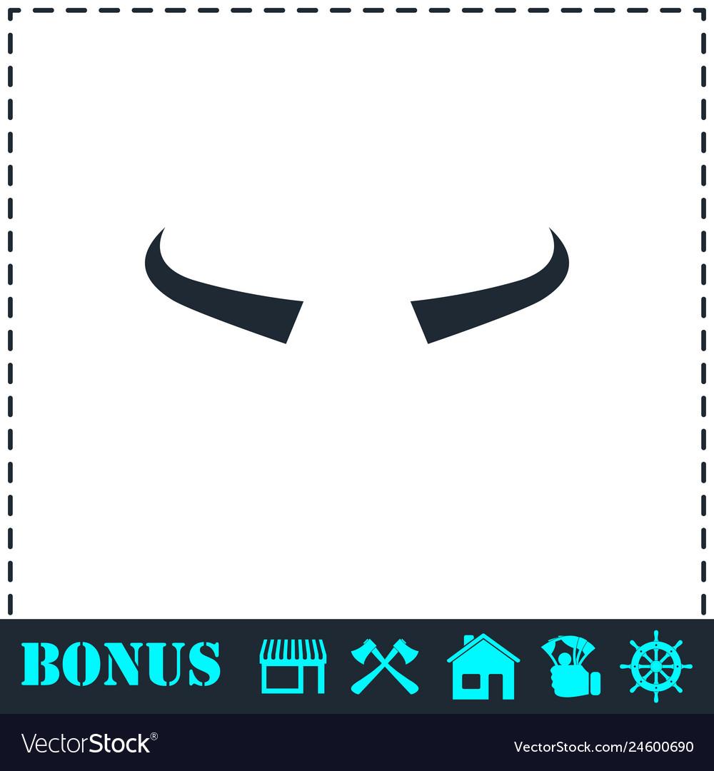 Buffalo horns icon flat
