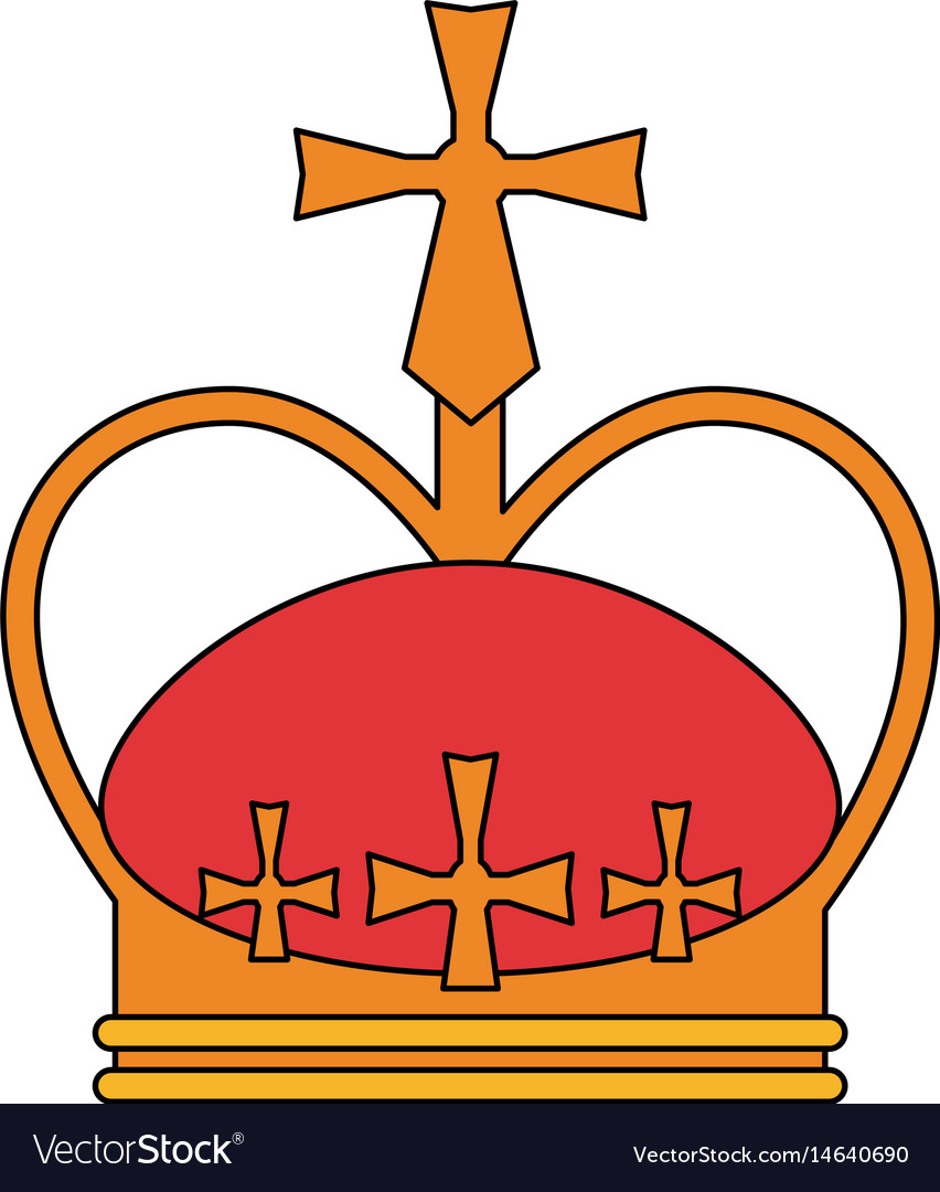 Colorful silhouette crown with decorative cross vector image