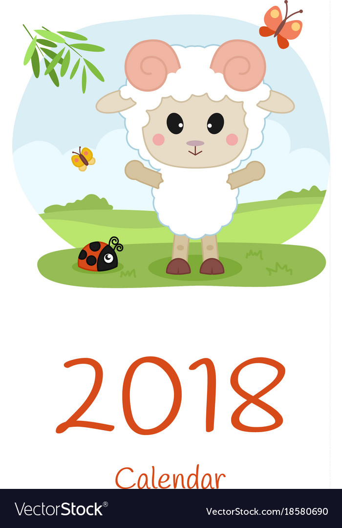 cover calendar 2018 with sheep happy new year vector image