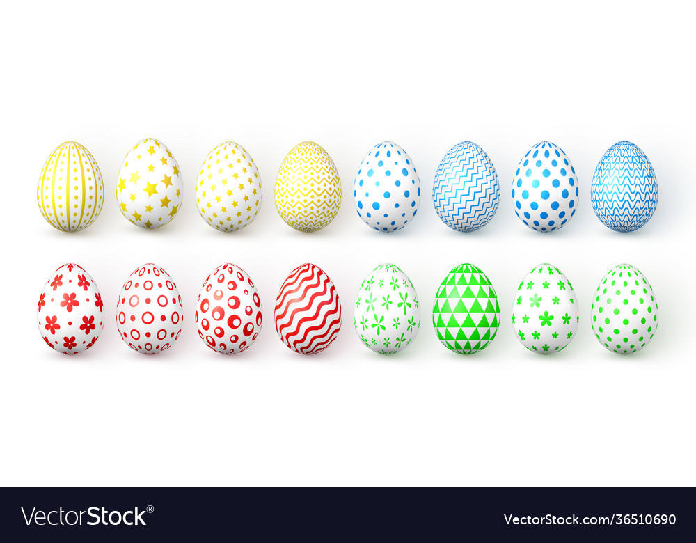 Happy easter color easter eggs on white background