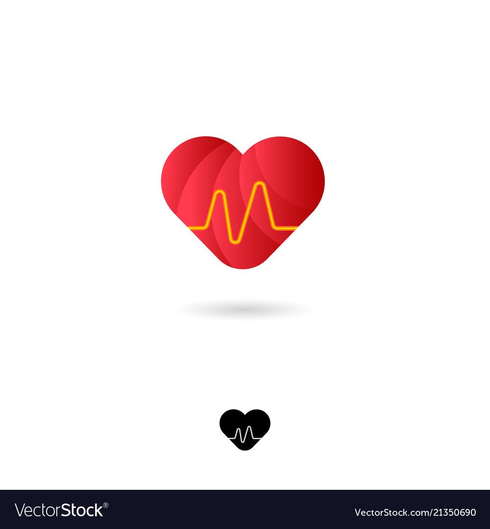 Icon heart red medical cardio cardiogram web