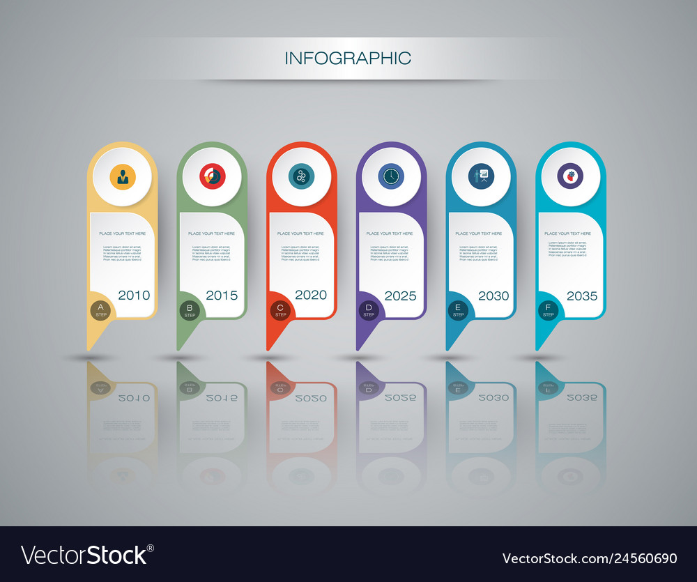Infographics timeline design template with 3d