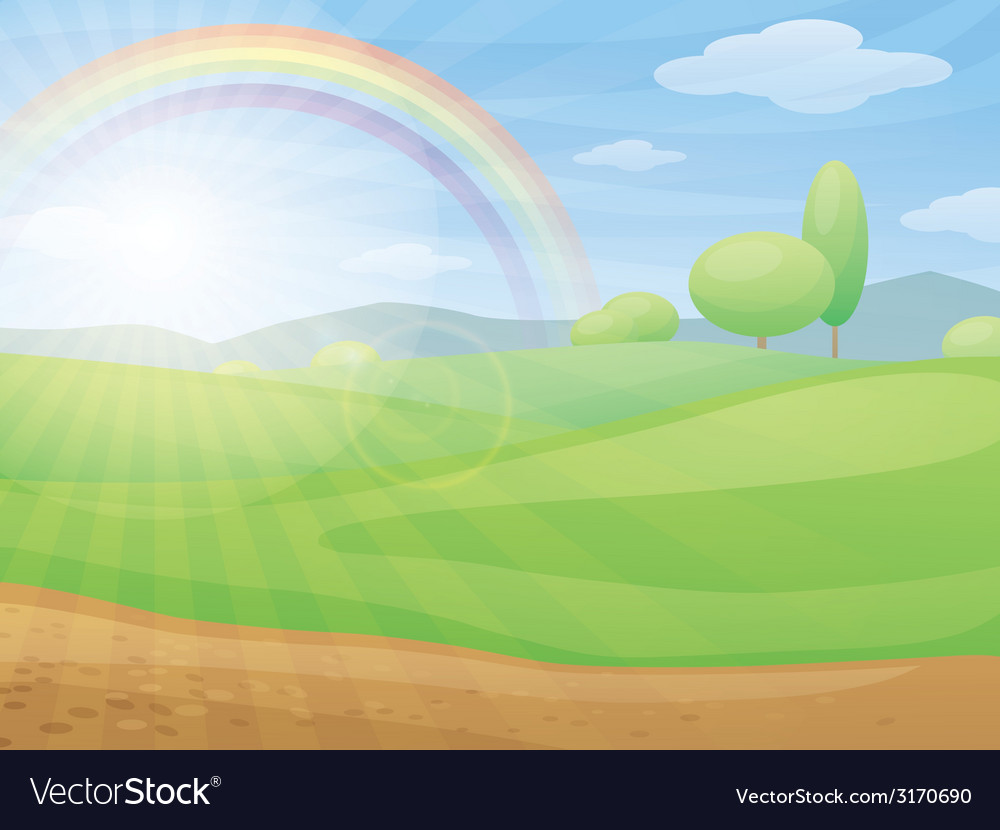 Kids cartoon landscape with rainbow