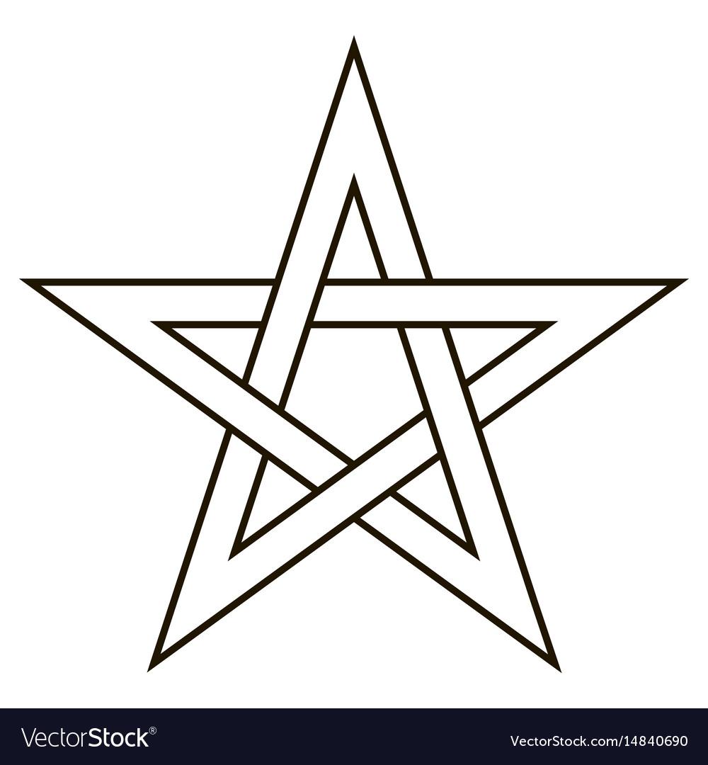 Pentagram Five End Star With Weave Sides Vector Image
