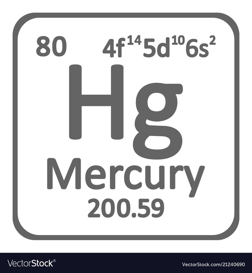 Periodic Table Element Mercury Icon Royalty Free Vector