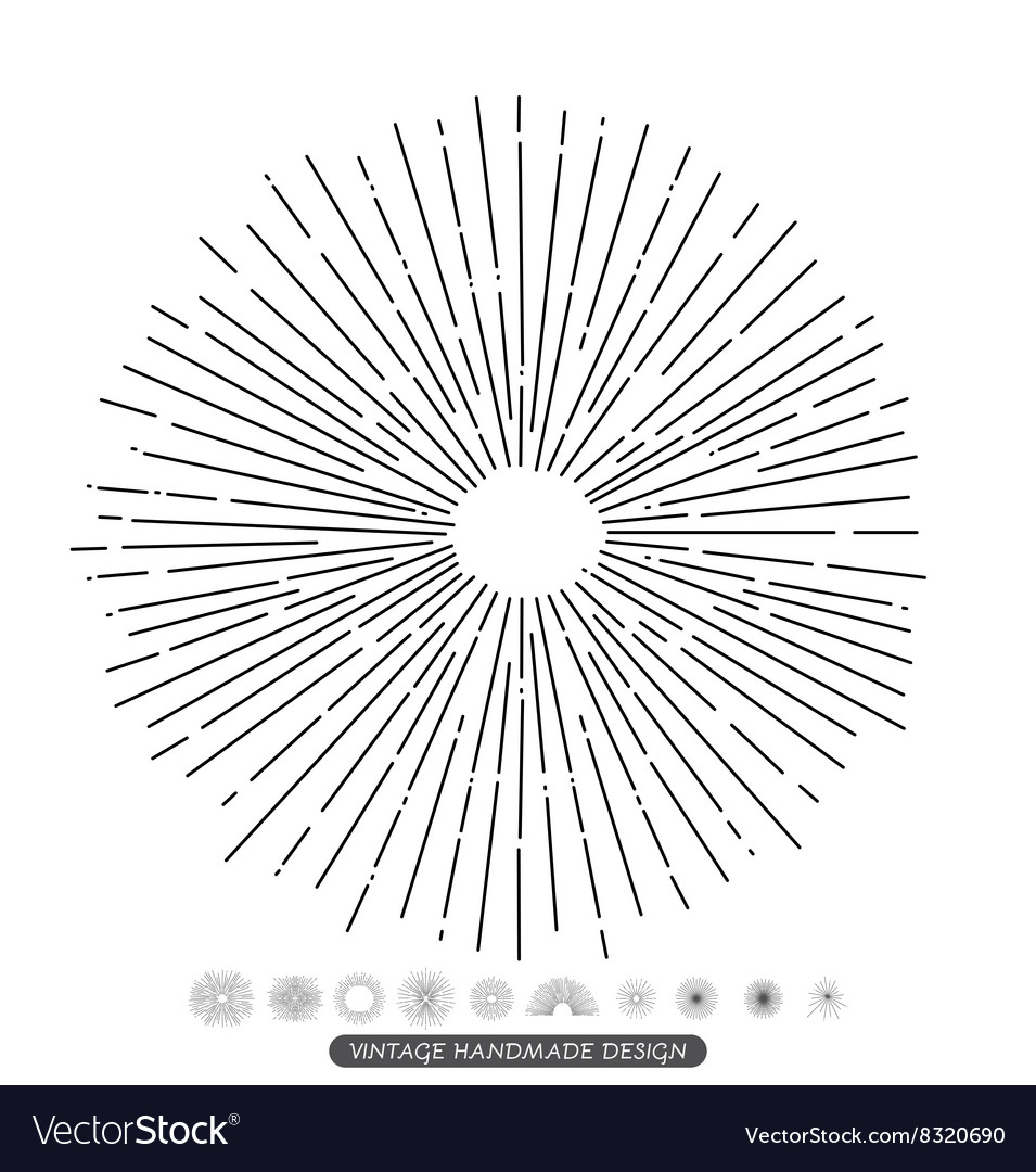 Retro sunburst bursting rays design elements