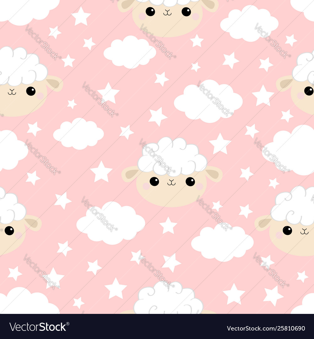 Seamless pattern cloud star in sky sheep face