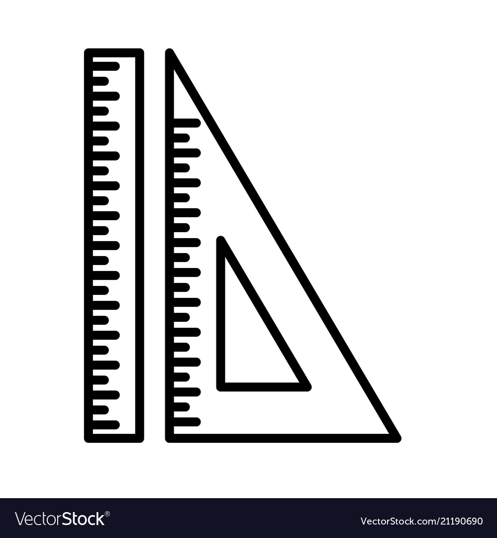 Set ruler triangular ruler line icon isolated