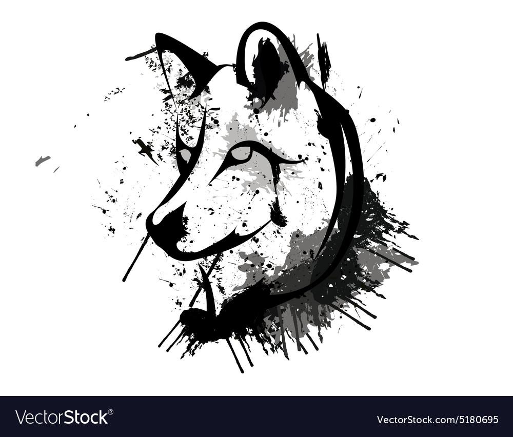 Abstract Grunge Wolf Head