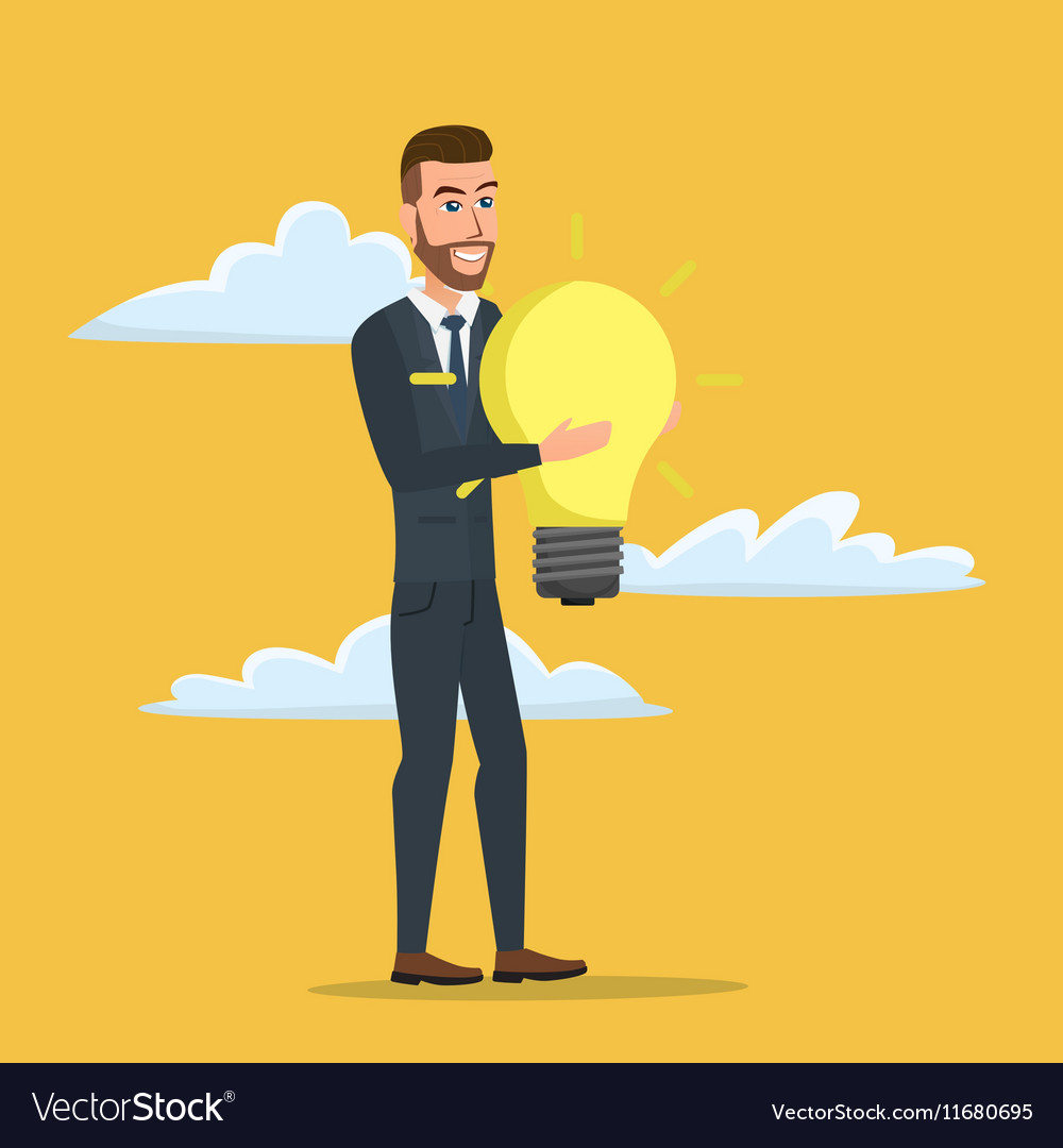Businessman holding the idea of holding a lamp