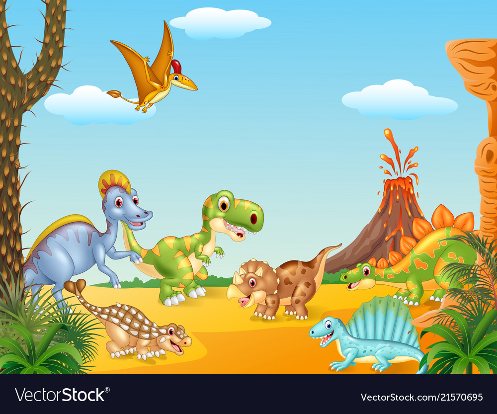 Cartoon happy dinosaurs with volcano