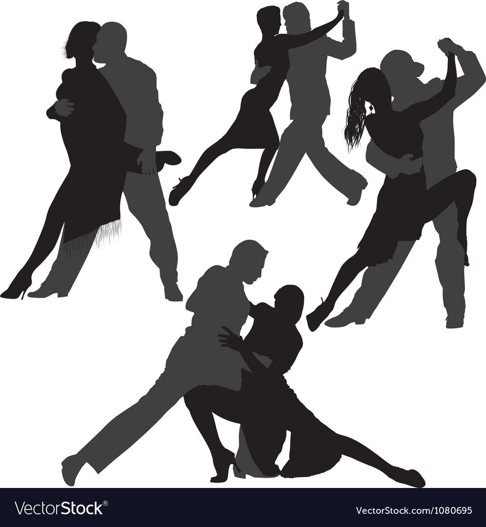 Couple dancing tango silhouette set