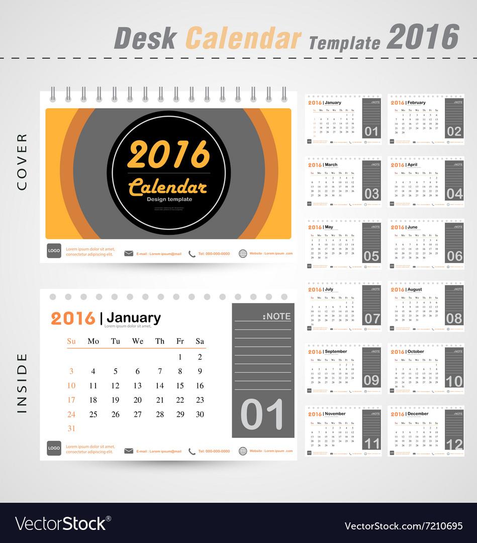 desk calendar 2016 modern circle design cover vector image