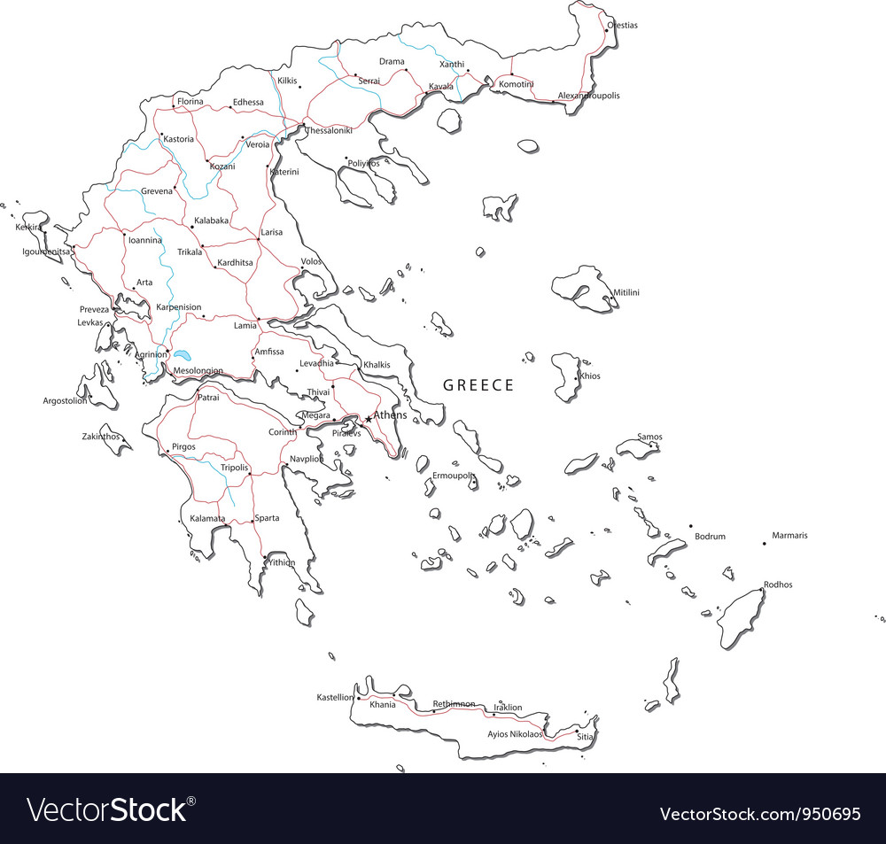 Greece Black White Map Royalty Free Vector Image