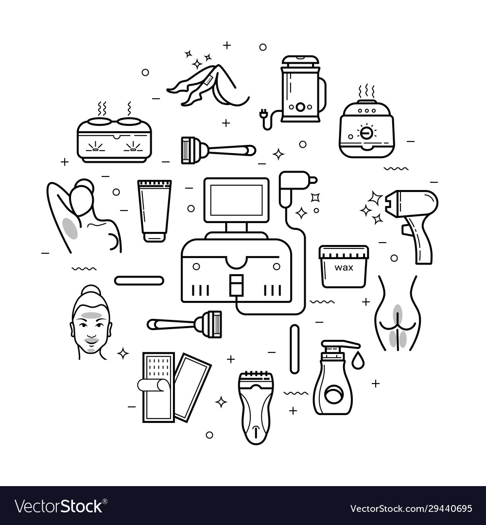 Hair Depilation Laser Hair Removal Linear Icons Vector Image