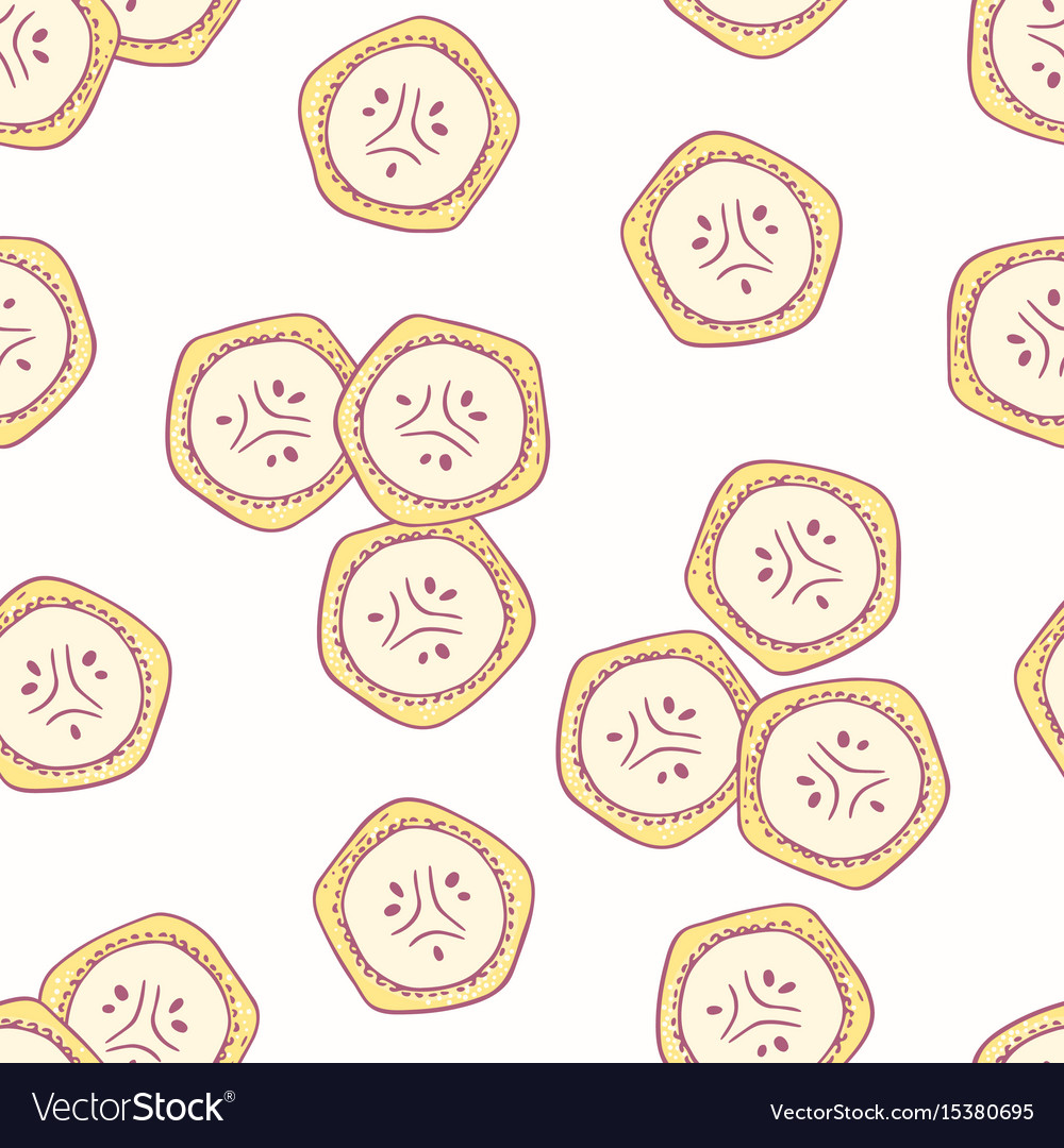 Hand drawn seamless pattern with bananas
