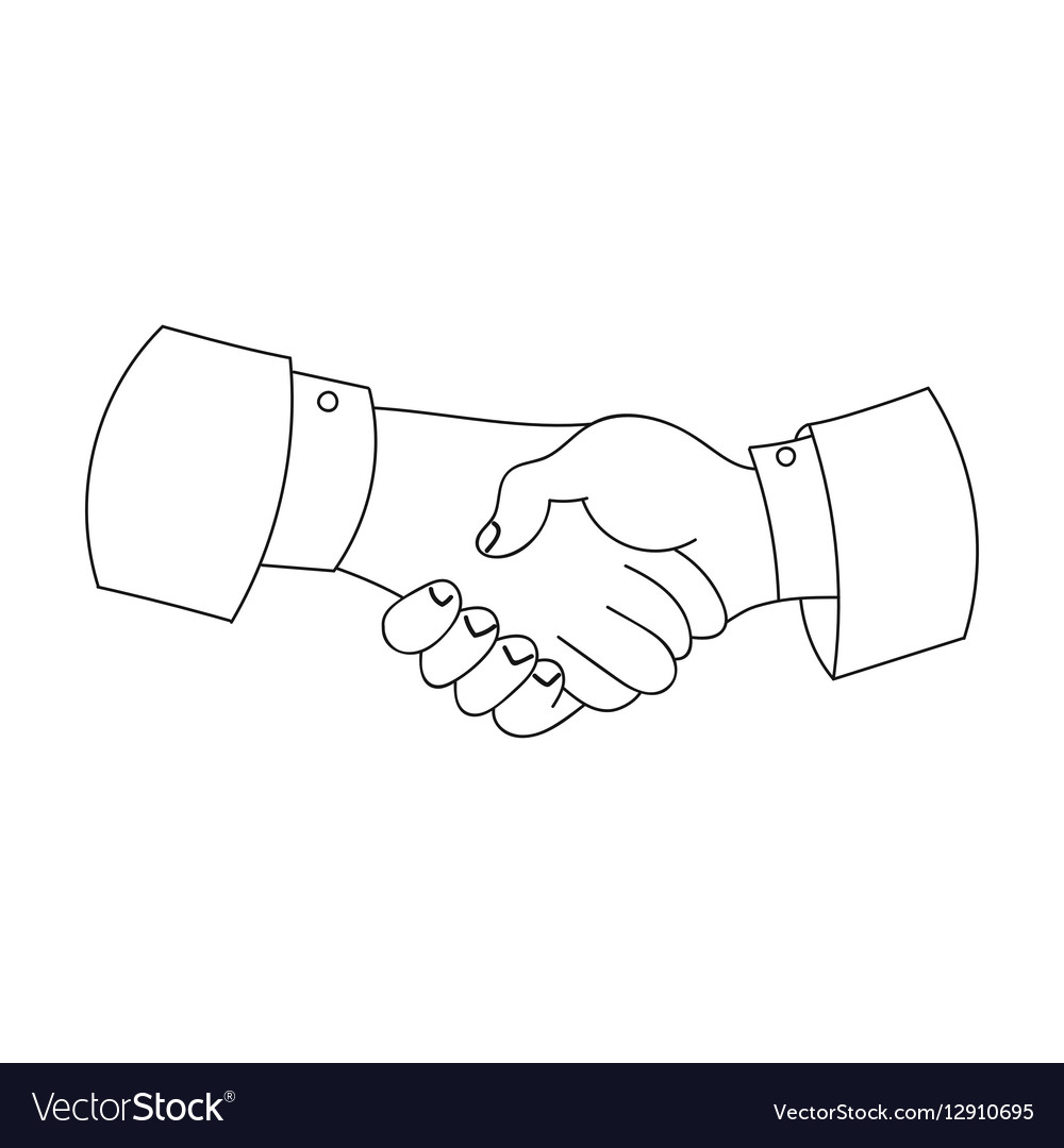 Handshake icon in outline style isolated on white