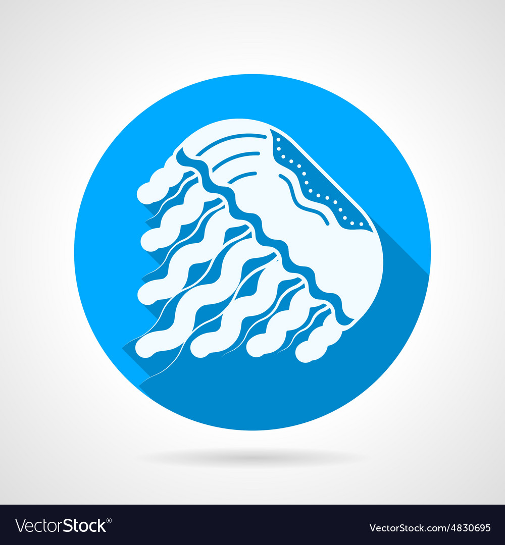 Jellyfish flat blue round icon