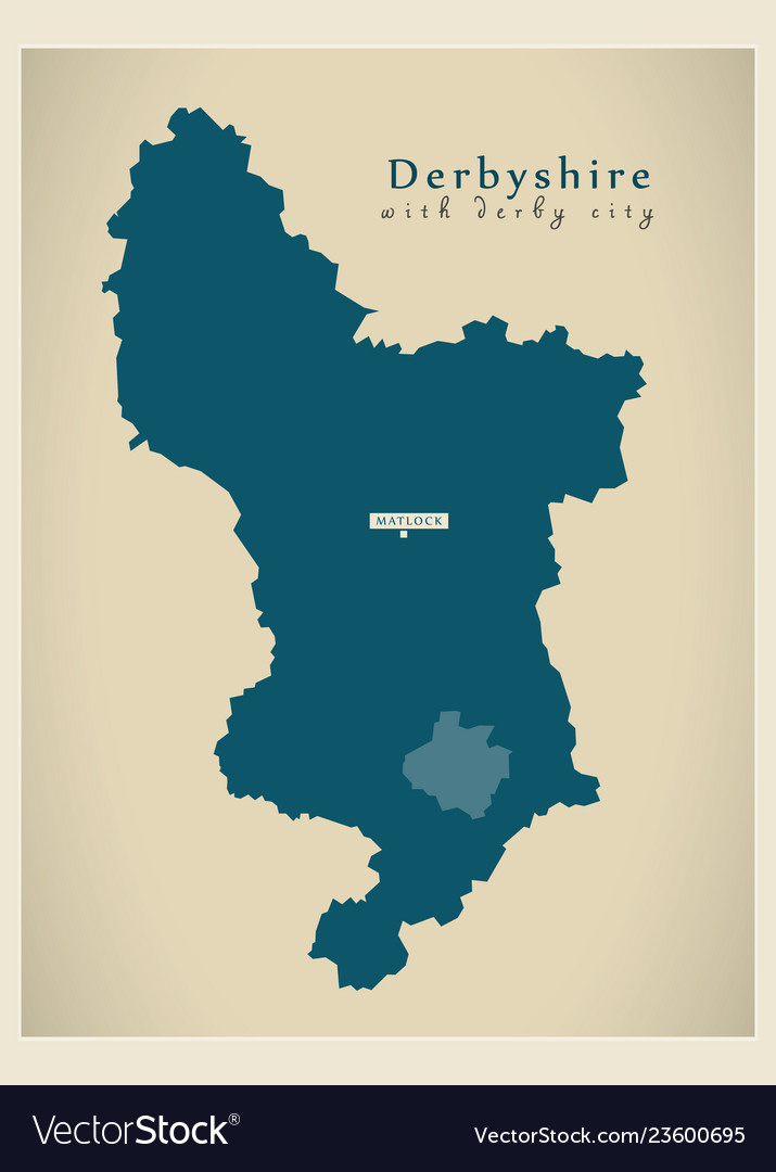 Map Of Uk Derby.Modern Map Derbyshire County With Derby City Uk