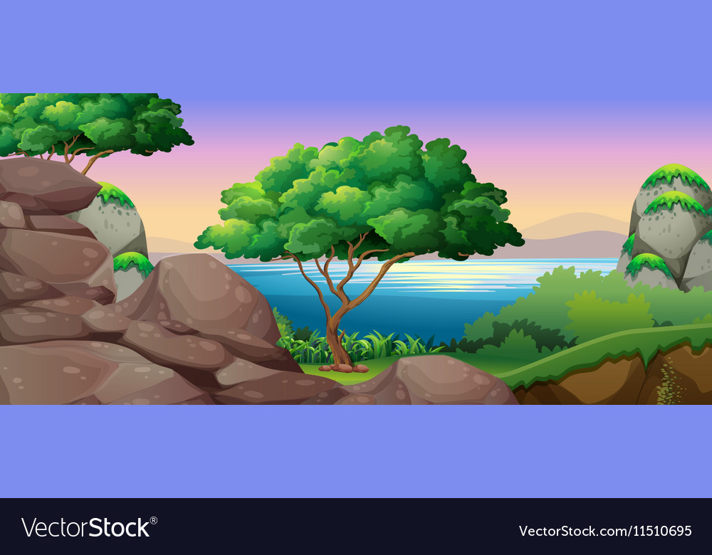 Nature scene with lake and rocks vector image