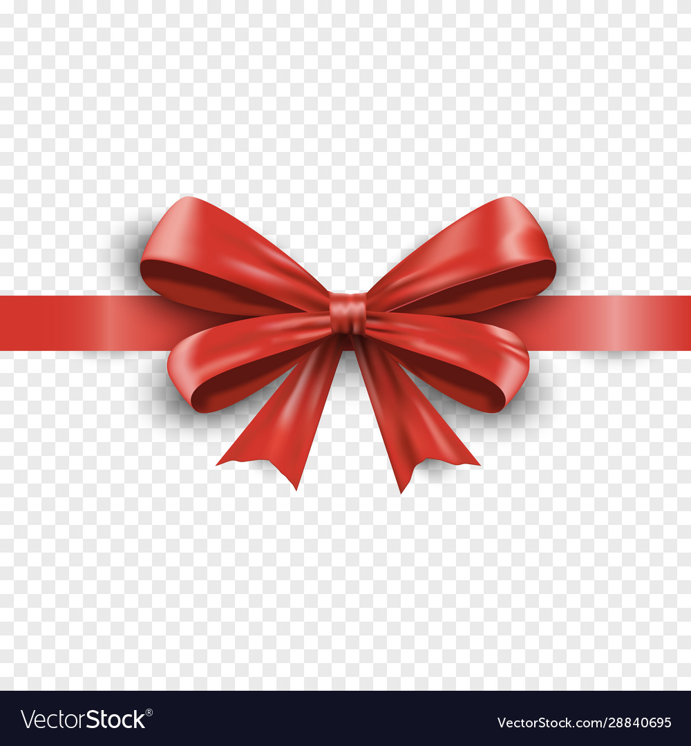 Realistic red silk gift bow with ribbon isolated