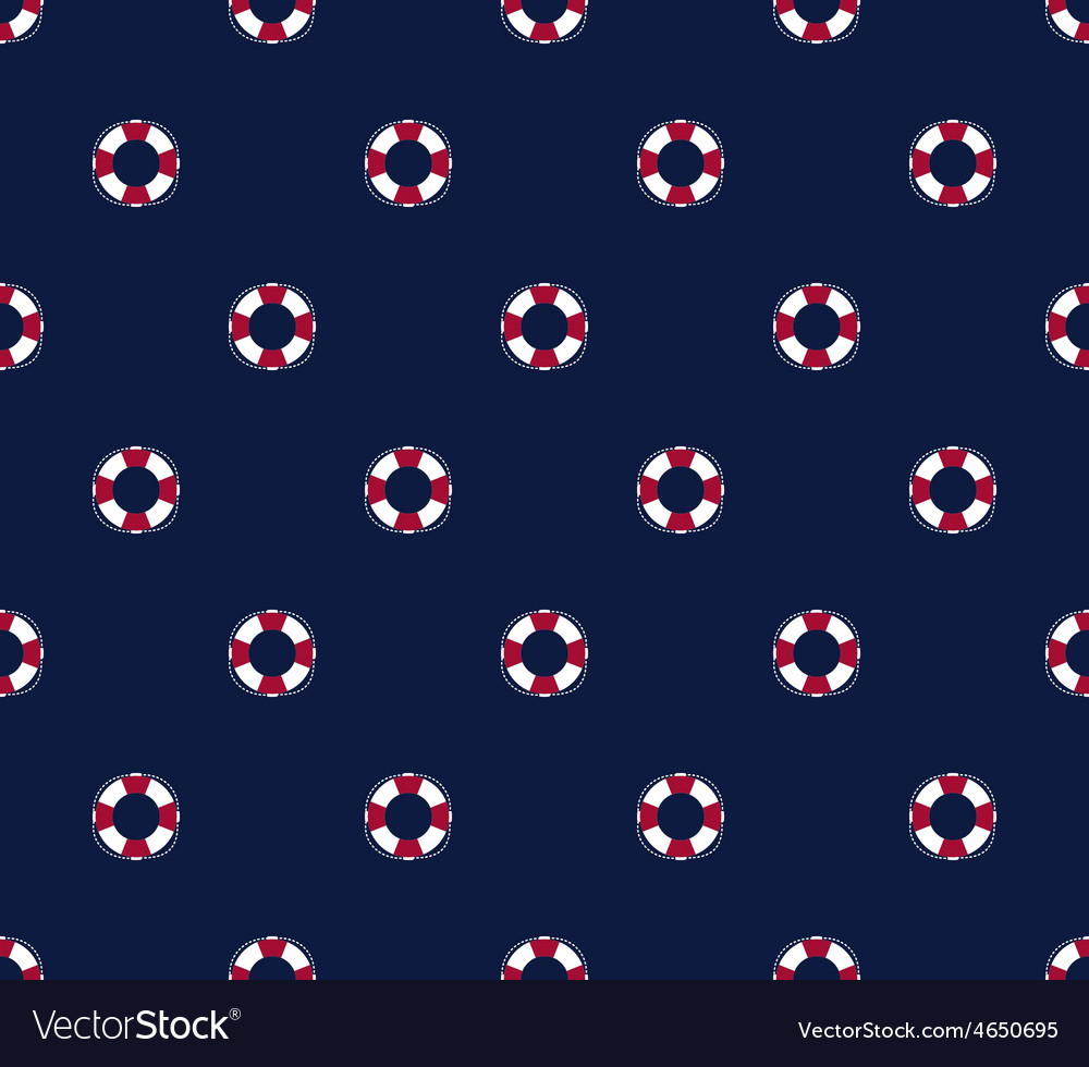 Sea and nautical seamless pattern with life saver