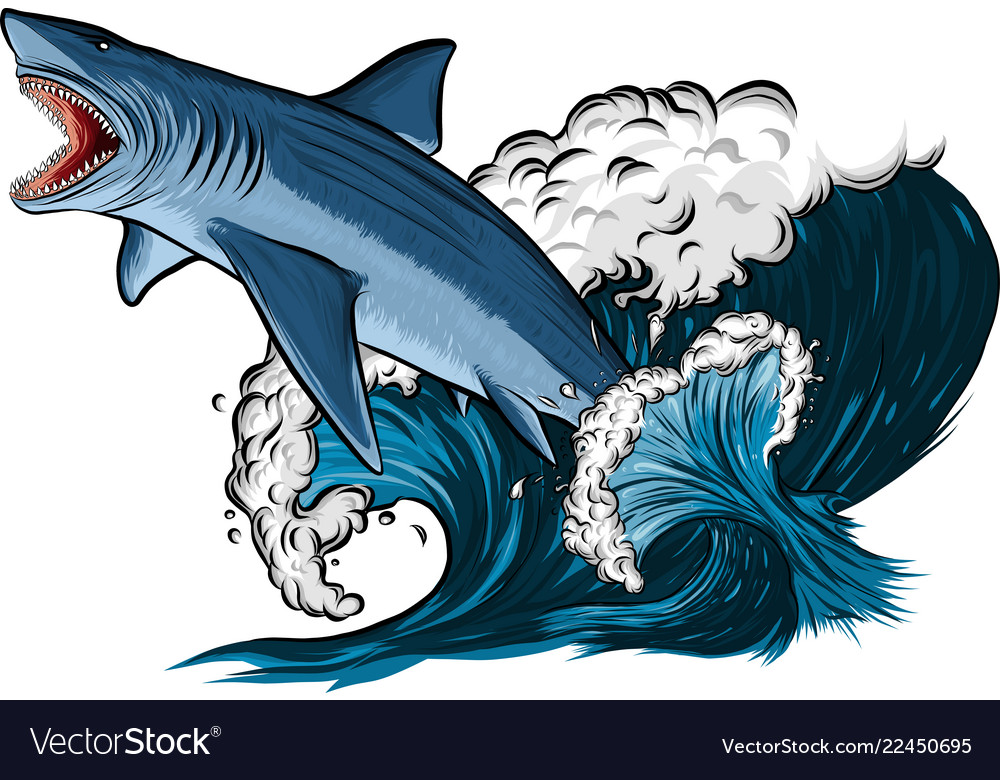 Shark with open mouth in the sea flat
