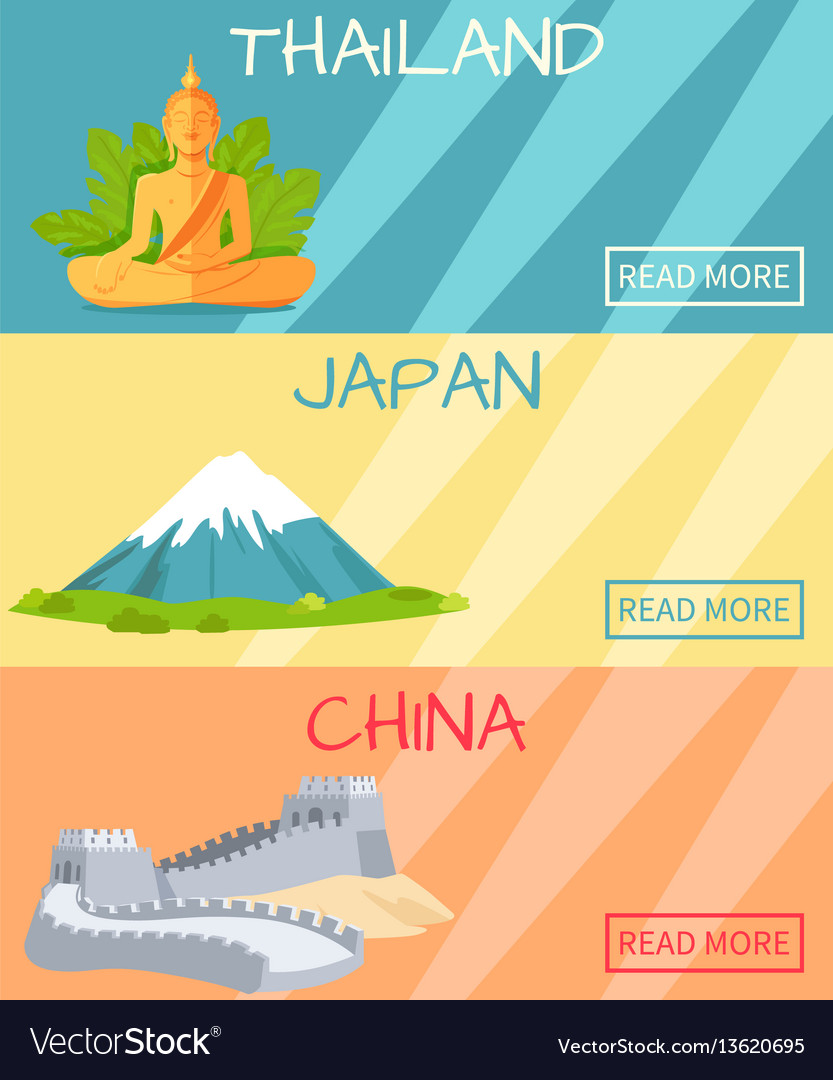 Thailand japan china web banner with elements