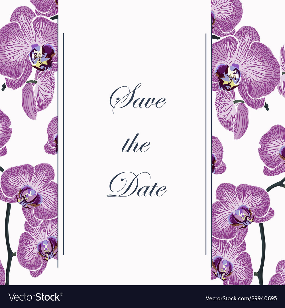 Vertical banners with exotic violet orchid flowers