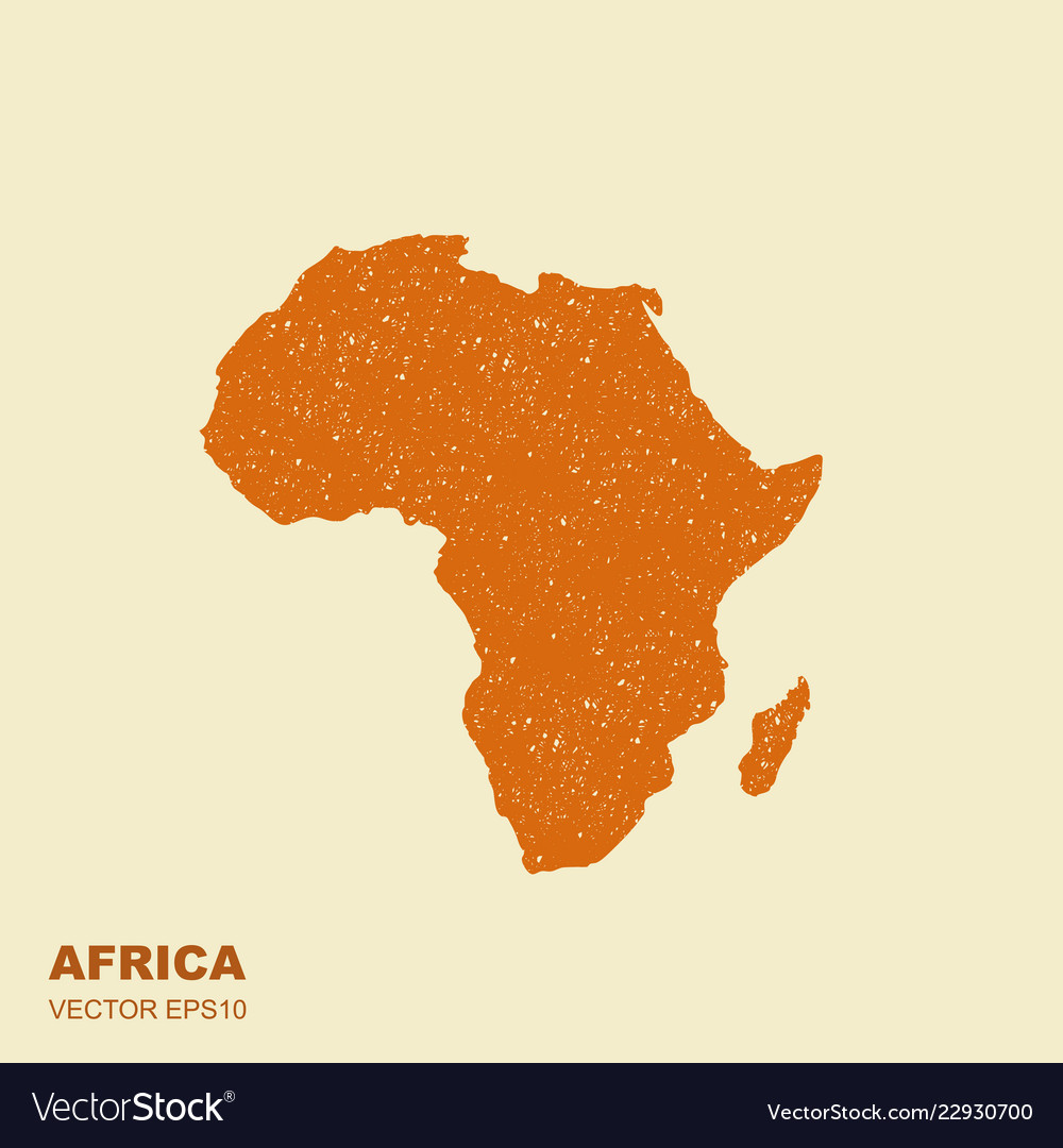 Africa Map Silhouette Vector.An Africa Map Silhouette Isolated With Scuffed