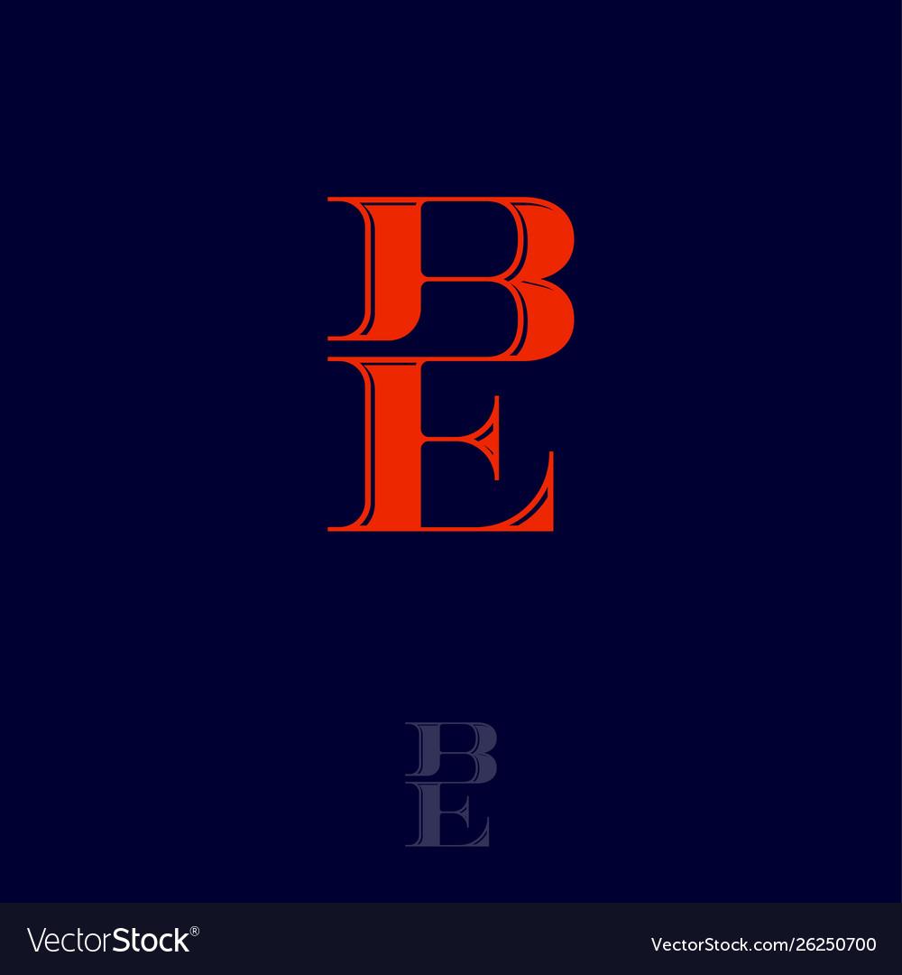 B e monogram logo combined letters emblem