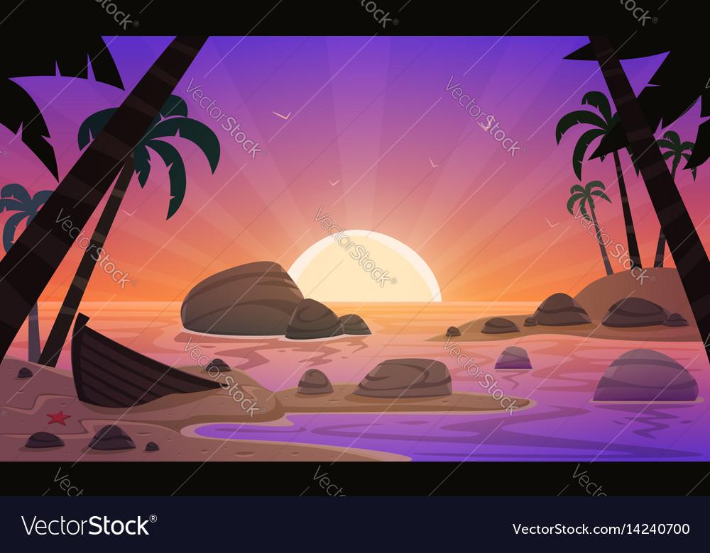 Cartoon sunset tropical beach vector image