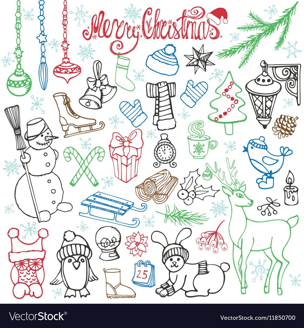 Christmas season doodle iconsanimalsLinear