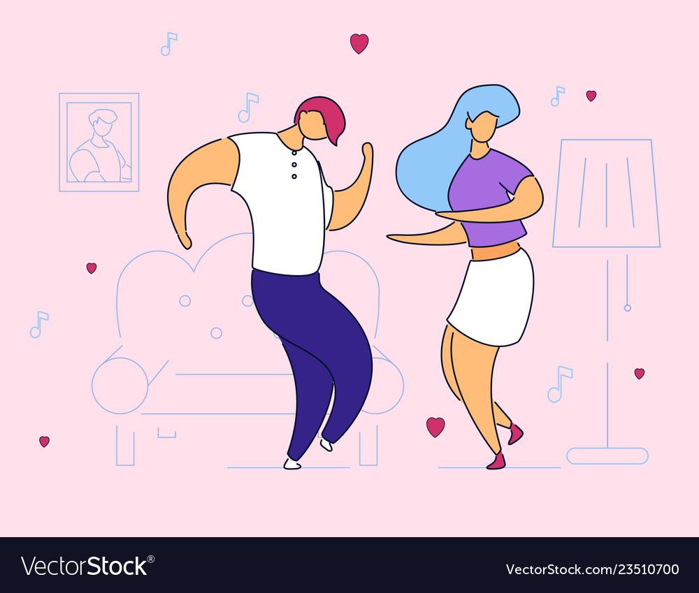Colorful modern flat cartoon characters dancing