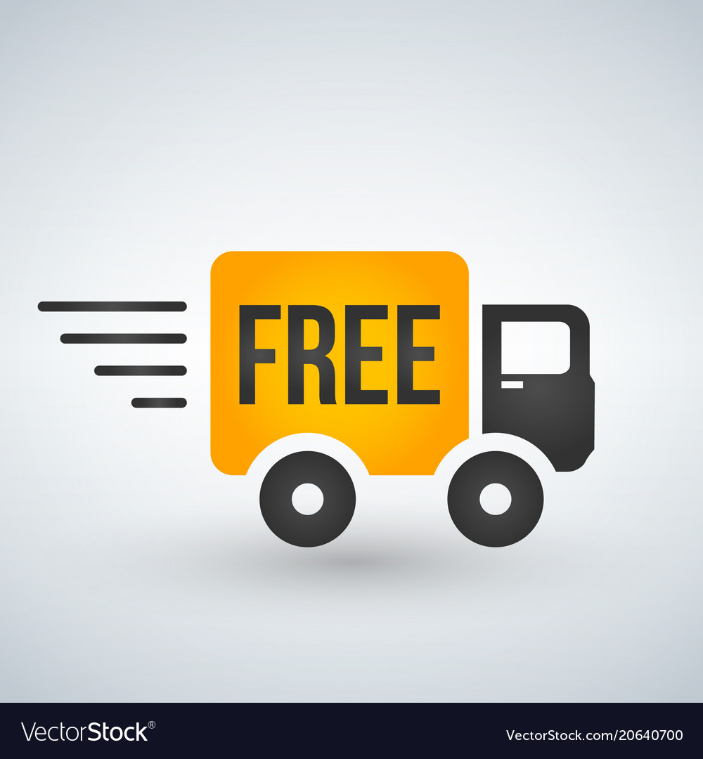 Fast and free shipping delivery truck flat icon