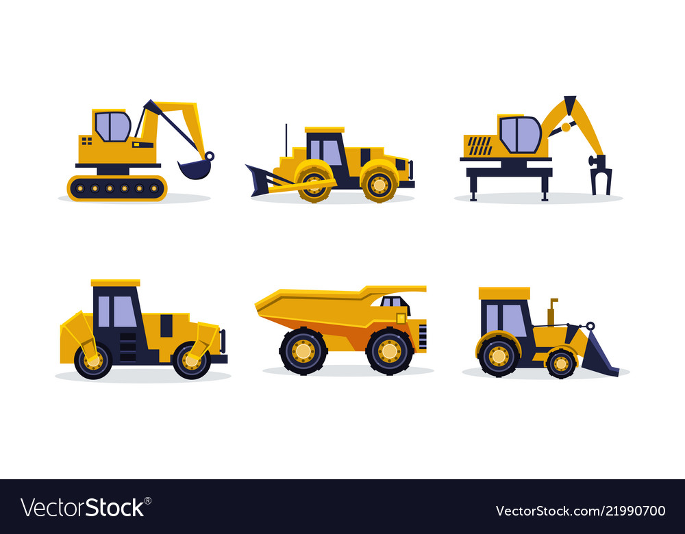 Flat set of heavy machinery for building