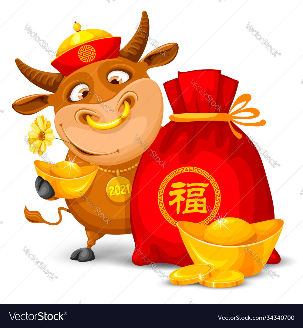Happy chinese new year greeting with cartoon bull