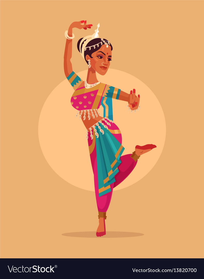 Indian happy woman character dances