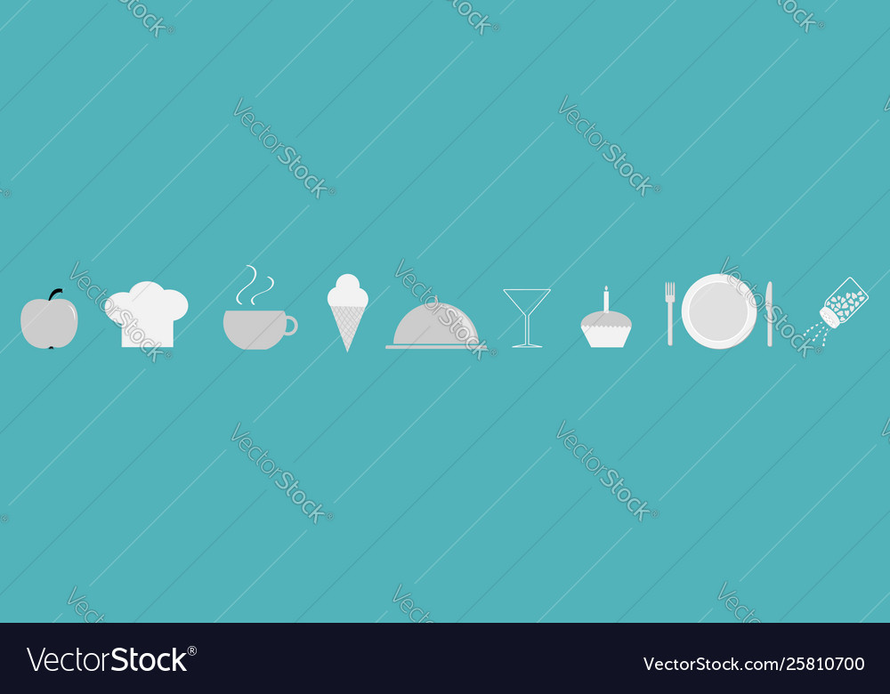Menu restaurant icon set line chef hat cloche
