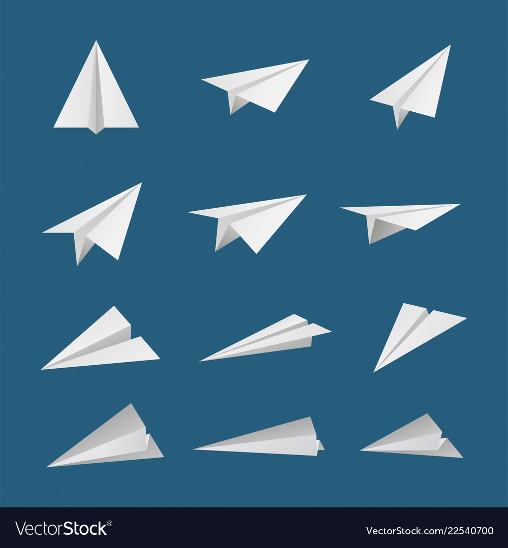 Paper plane or aircraft simple flat style icon set