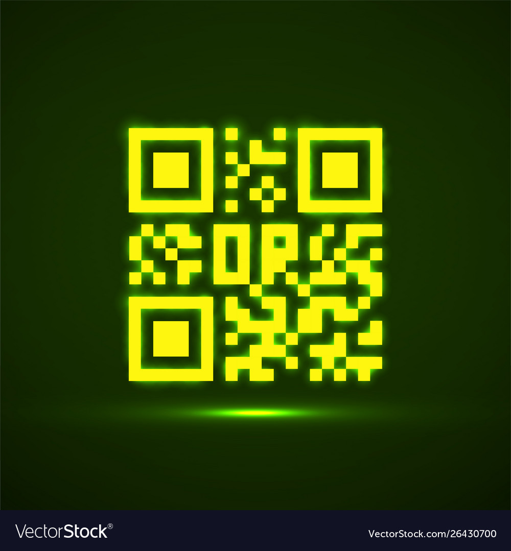 Qr code neon icon glowing logo barcode
