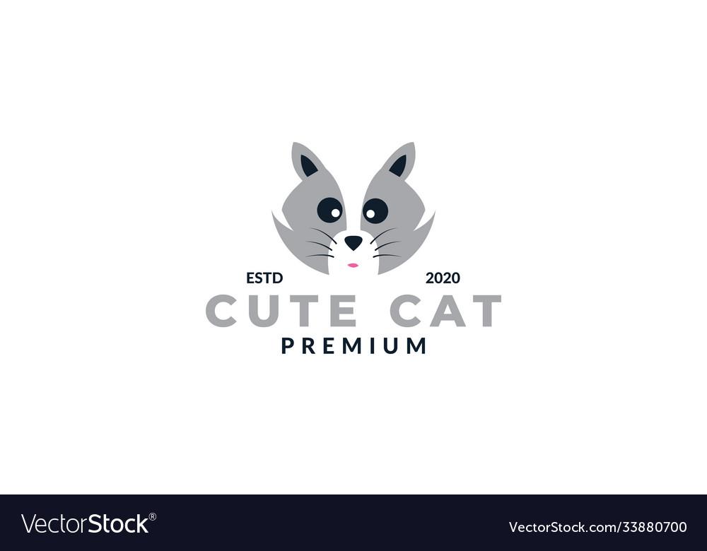 Silver cat face head cute logo design cartoon icon