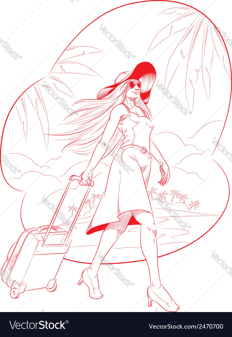 Sketch of Woman Tourist Travelling with Beach