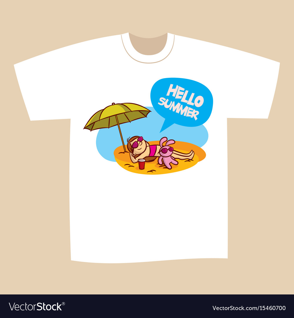 8a59e404cf2 T-shirt print design summer vacation Royalty Free Vector